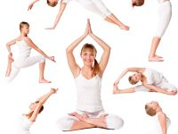 Collection of a beautiful girl practicing yoga on isolated white background